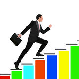 Businessman Run Financial Bar Graph Cartoon Business Man Climbing Growth Chart Flat Vector Illustration Royalty Free Stock Images