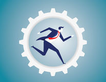 Businessman run in the gear. Bicycle gearing with running businessman. Business concept. Vector flat Stock Image