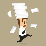 Businessman run holding a lot of documents in his hands Stock Photos