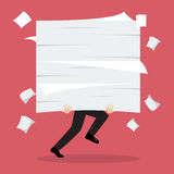 Businessman run holding a lot of documents. Vector illustration Stock Images