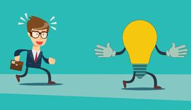 Businessman run after idea bulb . Choices Idea and Decision concept. Stock flat vector illustration Royalty Free Stock Photo