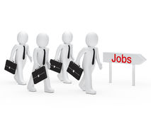 Businessman run for job. Business men with briefcase run for job Stock Photo