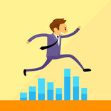 Businessman Run Jump over Financial Bar Graph Royalty Free Stock Photos