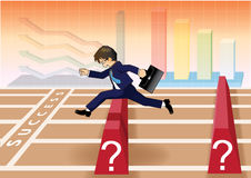 Businessman run and jump over obstacles to success line Stock Photos