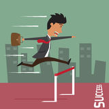 Businessman run with jumping over hurdle. Stock Photography