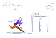 Businessman run open exit door man hurry up evacuation emergency horizontal sketch doodle. Vector illustration royalty free illustration
