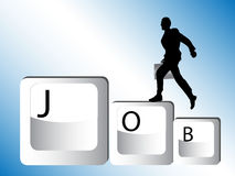 Businessman run over word job Stock Image
