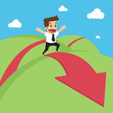 Businessman run red arrow Stock Photography