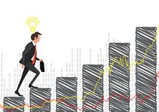 Businessman Run stock market Bar Graph Cartoon Businessman Climbing Growth Chart Flat. Illustrator Royalty Free Stock Photo