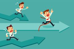 Businessman run straight to success. Businessman run straight through finish line to success and winning the race. Business competition concept Royalty Free Stock Photo