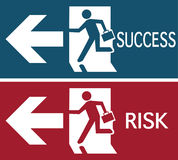 Businessman run success and risk sign Royalty Free Stock Photography