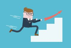 Businessman run on success. Winning the competition. The fight for the lead. Conceptual image of a businessman character. Cartoon flat vector illustration Stock Photos