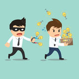 Businessman run thief use magnet stealing idea vector illustrati Royalty Free Stock Photo