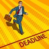 Businessman run to deadline pop art vector. Businessman run to deadline pop art retro vector illustration. Comic book style imitation Stock Images