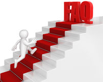 Businessman run to FAQ. Image with clipping path Stock Photo