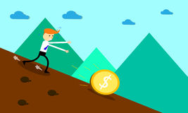 Businessman run to get money. Royalty Free Stock Photos