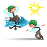 Businessman Run to Goal, Time and Way Success Concept Stock Photo