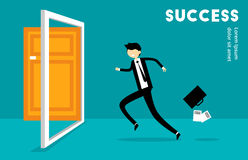 Businessman Run to Success Illustration Stock Photos