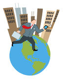 Businessman running around a globe Royalty Free Stock Photography