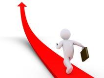 Businessman running on arrow. 3d businessman is running on arrow going upwards Stock Photography