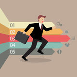Businessman running with arrows infographic Royalty Free Stock Photos