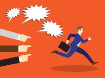 Businessman Running Away From Accusation. Vector Illustration Business Concept Designed As A Businessman Is Running Away From Others Accusation With Pointing And vector illustration