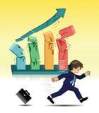 Businessman running away from broken graph Stock Photo