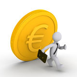 Businessman running away from falling euro coin. 3d businessman is running away from falling euro coin Stock Photos