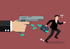 Businessman running away from a hand holding gun Stock Images