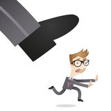 Businessman running away from huge foot. Vector illustration of a scared cartoon businessman running away from huge foot stock illustration