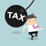 Businessman running away from huge pendulum with message 'tax'. Financial crisis in tax burden concept vector illustration Royalty Free Stock Images