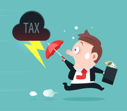 Businessman Running Away From Tax Royalty Free Stock Photography