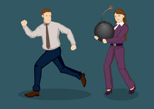 Businessman Running Away from Trouble Vector Illustration. Business woman carrying a huge bomb and businessman running away from her. Cartoon vector illustration vector illustration