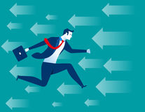 Businessman running on background with arrows. Concept business illustration. Vector flat Stock Photography