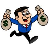Businessman Running with Bags of Money Royalty Free Stock Photo