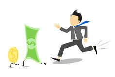 Businessman running for banknotes or bills the US dollar Stock Photo