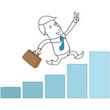 Businessman running on bar chart Stock Images