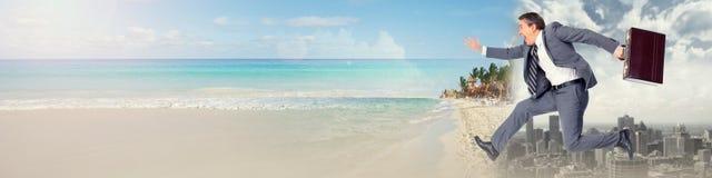 Businessman running on beach stock photos