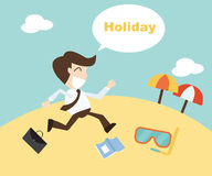 Businessman running on the beach. Summer vacation. The cartoon Business idea concept Stock Images