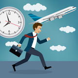 Businessman running behind a plane. Royalty Free Stock Photography