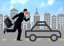 Businessman running behind silhouette car. Running businessman against the silhouette city and car stock illustration