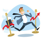 Businessman running breaks the finish tape sales schedule royalty free stock photo