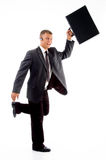 Businessman running with briefcase Royalty Free Stock Photo