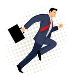 Businessman running with briefcase. Cartoon illustration of a businessman running with briefcase, business, energetic, dynamic concept stock illustration