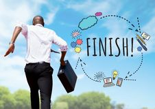 Businessman running with briefcase and Finish text with drawings graphics Stock Photos