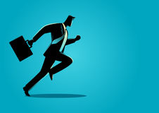 Businessman running with briefcase. Silhouette illustration of a businessman running with briefcase, business, energetic, dynamic concept stock illustration