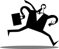 Businessman running with a briefcase Royalty Free Stock Photography