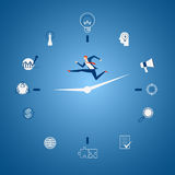 Businessman running on business time with icons and elements concept. Time pressure, stress, overworked and deadline concept. Cartoon Vector Illustration Royalty Free Stock Images