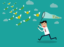 Businessman running with butterfly  money. Businessman running with butterfly net chasing money which is flying in the air. Finance business concept. vector Stock Photos
