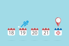 Businessman is running on calendar symbols to the target icon, time and business concept Stock Image